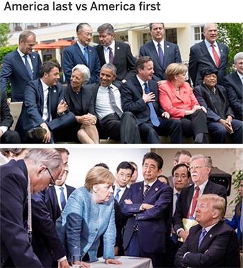Hình ảnh Obama và Trump tại G7 năm 2015 và 2018 được Don Jr đăng tải. Ảnh: Instagram
