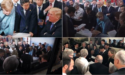 Những hình ảnh do một nhà báo Đức đăng tải cho thấy những biểu hiện khác nhau trong cuộc họp. Ảnh: Twitter.