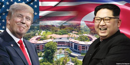 Hội nghị thượng đỉnh giữa Tổng thống Mỹ Donald Trump và lãnh đạo Triều Tiên Kim Jong-un sẽ diễn ra vào ngày 12/6 tại Singapore. Ảnh: Korea Times.