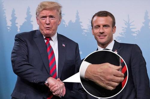 Vết hằn trên tay Tổng thống Mỹ Donald Trump sau cú bắt tay với Tổng thống Pháp Emmanuel Macron. Ảnh:Sun.