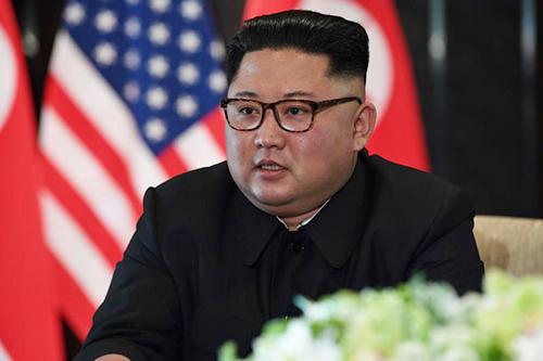 Kim Jong-un tại hội nghị thượng đỉnh Mỹ - Triều Tiên ở Singapore hôm nay. Ảnh: AFP