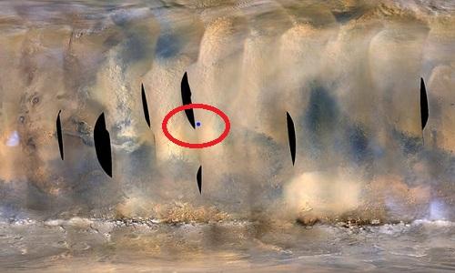 Chấm xanh trong vòng tròn là vị trí của robot Opportunity trong cơn bão bụi. Ảnh: NASA.