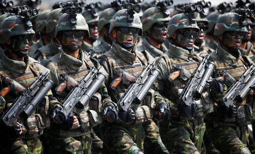 Đặc nhiệm Triều Tiên trong lễ duyệt binh ngày 15/4/2017. Ảnh:KCNA.