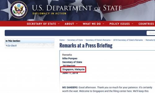 Lỗi sai sót trong tài liệu do Bộ Ngoại giao Mỹ công bố hôm 11/6. Ảnh chụp màn hình.