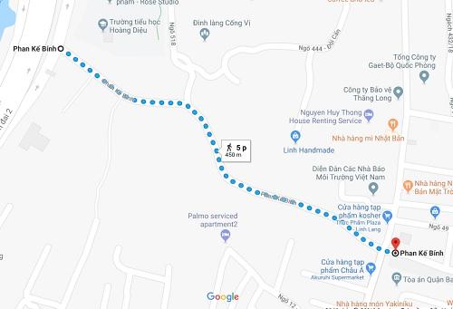 Vị trí sai phạm nằm tại khu vực đắc địa tại quận Ba Đình. Ảnh: Google map