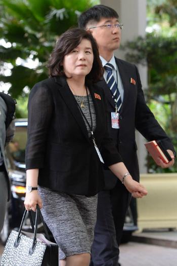 Thứ trưởng Ngoại giao Triều Tiên Cho Son-hui tại khách sạnRitz-Carlton ngày 11/6. Ảnh: AFP.
