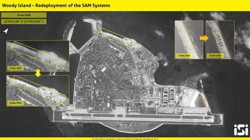Hình ảnh vệ tinh cho thấy các tên lửa HQ-9 của Trung Quốc tái xuất ở Hoàng Sa. Ảnh: SIS.