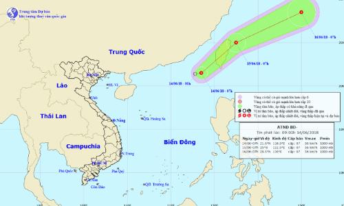 Vị trí và hướng đi của áp thấp nhiệt đới. Ảnh:NHCMF