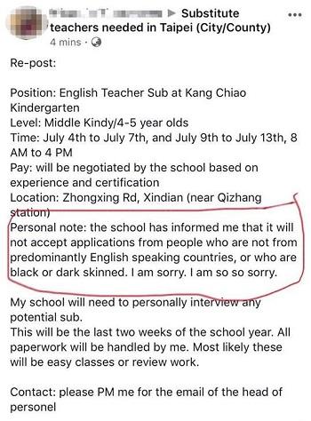 Tin tuyển dụng gây tranh cãi. Ảnh: Taiwan News