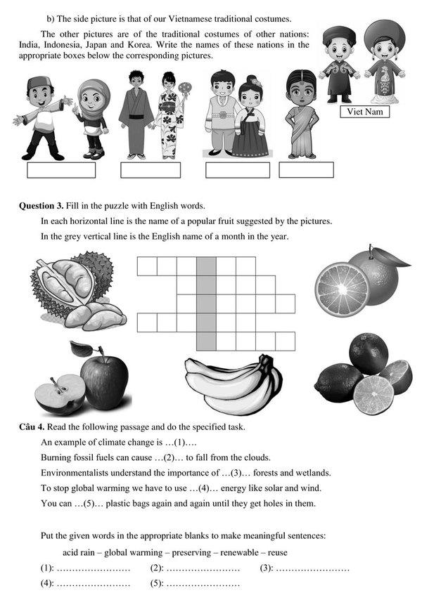 Đáp án bài khảo sát tuyển sinh lớp 6 trường Trần Đại Nghĩa