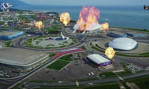 Cảnh quay trong video của IS mô phỏng các sân vận động tại Nga chìm trong biển lửa. Ảnh: News Week.