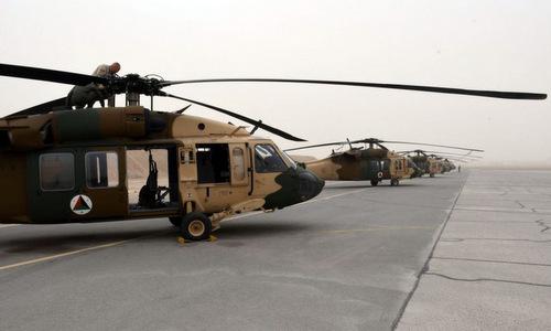 Phi đội UH-60A Black Hawk của Afghanistan. Ảnh: Stripes.