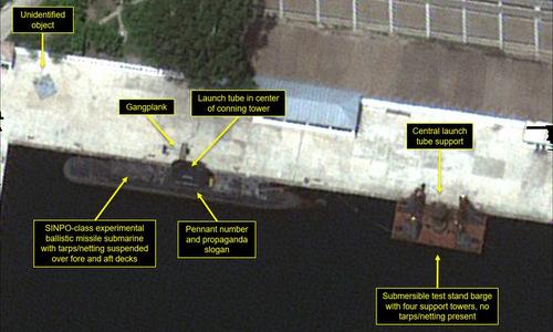 Bãi thử tên lửa tại nhà máy đóng tàu Nam Sinpo. Ảnh: Digital Globe.