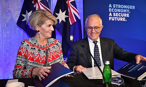 Ngoại trưởng Australia Julie Bishop (trái)tại cuộc họp của Đảng Tự do tổ chức ở Sydney. Ảnh: AAP.