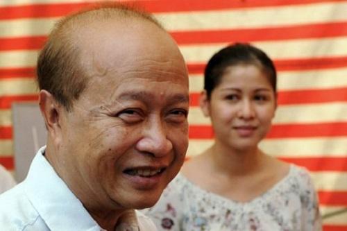 Hoàng thân Norodom Ranariddh và vợ Ouk Phalla. Ảnh: AFP.