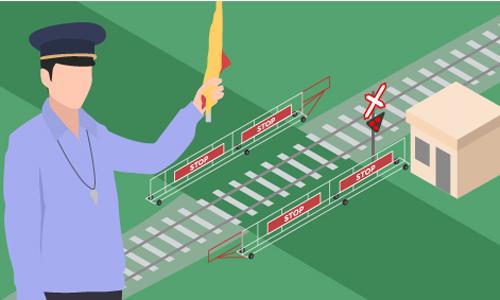 Nhân viên gác chắn đường ngang tác nghiệp. Đồ họa: Việt Chung