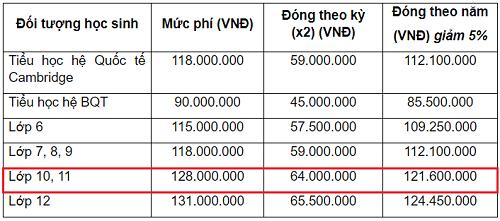 Học phí năm học 2018-2019 của trường Việt - Úc Hà Nội. Ảnh chụp màn hình