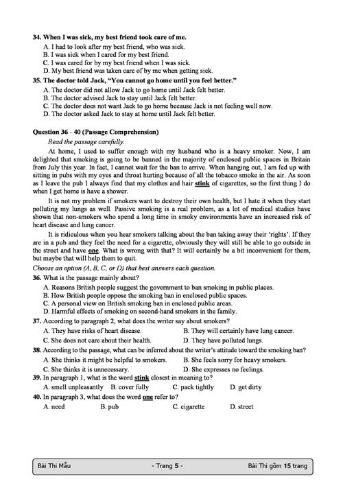 Bài thi mẫu đánh giá năng lực của Đại học Quốc gia TP HCM - 4