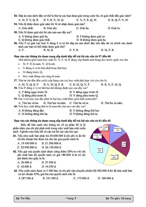 Bài thi mẫu đánh giá năng lực của Đại học Quốc gia TP HCM - 6