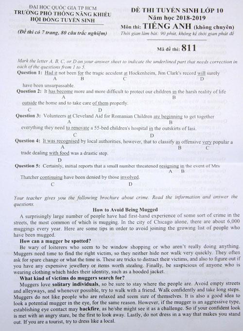 Đề thi tiếng Anh vào lớp 10 Phổ thông Năng khiếu - 1