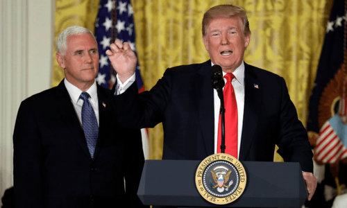 Trump phát biểu trước Hội đồng Không gian quốc gia Mỹ hôm 18/6. Ảnh: AFP.