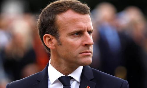 Tổng thống Pháp Emmanuel Macron tại lễ kỷ niệm lần thứ 78 lời kêu gọi kháng chiến của Tướng Charles de Gaulle tại đài tưởng niệm Mont Valerien hôm 18/6. Ảnh: Reuters.