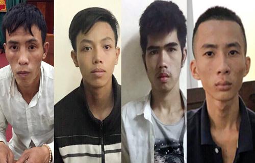 Bốn nghi can gồm Tuấn, Tiến, Hiền, Đức tại cơ quan công an. Ảnh: Công an