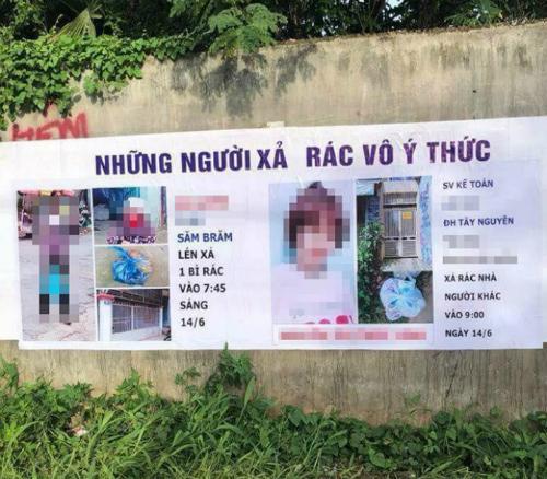 Hình chân dung, thông tin cá nhân của hai người xả rác được bêu trên tấm bạt. Ảnh: Facebook