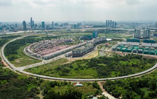 Một gốc Khu đô thị Thủ Thiêm sau 22 năm được quy hoạch. Ảnh: Quỳnh Trần