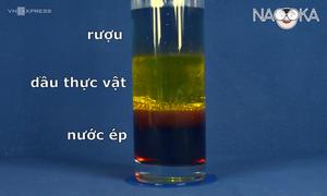 Tại sao chất lỏng khác màu không hòa tan trong bình?