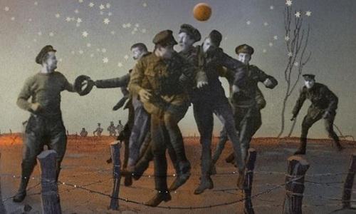 Tranh minh họa về trận bóng giữa Đức và Anh năm 1914. Ảnh: BBC.