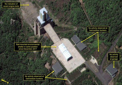 Khu vực thử động cơ tên lửa tại cơ sở Sohae hồi cuối tháng 5. Ảnh: Digital Globe.
