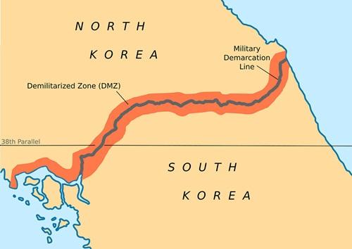 Vị trí DMZ. Ảnh: Reuters.