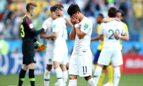 Hàn Quốc thất bại trước Thụy Điển trong trận mở màn hôm 18/6 tại World Cup 2018. Ảnh: AP.