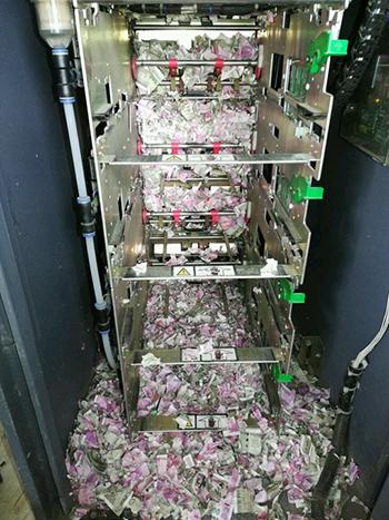 Tiền mặt trong máy ATM ở Ấn Độ bị cắn nát. Ảnh: Twitter.