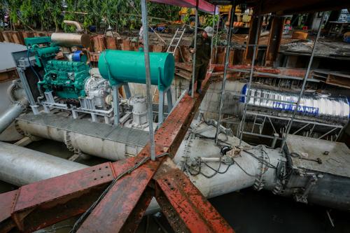 Siêu máy bơm được đánh giá chống ngập thành công sau hơn chục lần chạy thử nghiệm. Ảnh: Thành Nguyễn.