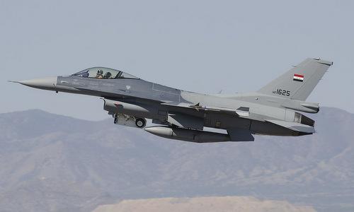 Tiêm kích F-16 Iraq xuất kích trong một nhiệm vụ năm 2016. Ảnh: AFP.