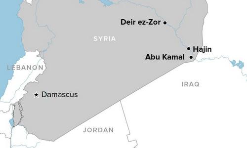 Khu vực Hajin nằm gần biên giới Syria - Iraq. Đồ họa: Buzzfeed.
