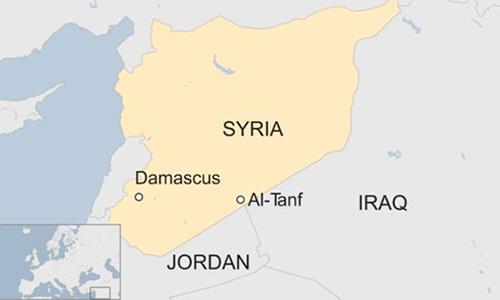 Vị trí khu vực Al-Tanf ở Syria. Đồ hoạ:BBC.