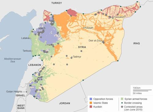 Quân đội Syria đang tìm cách giải phóng phần lãnh thổ phía nam từ tay quân nổi dậy và phiến quân Hồi giáo. Đồ họa: BBC.