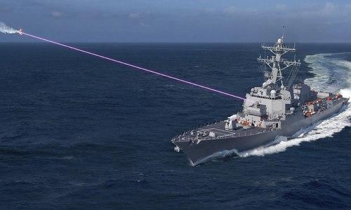 Mô phỏng hoạt động của vũ khí laser trên tàu khu trục Mỹ. Ảnh: Lockheed Martin.