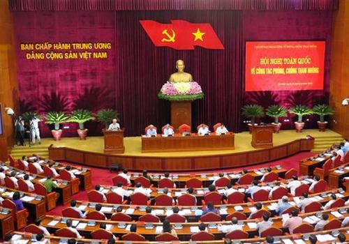 Toàn cảnh hội nghị toàn quốc về công tác phòng chống tham nhũng. Ảnh: TTXVN.