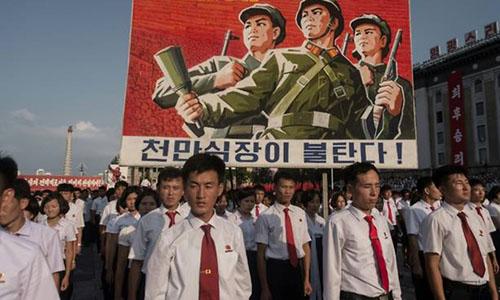Cuộc mít tinh chống Mỹ diễn ra tại Bình Nhưỡng năm ngoái. Ảnh: AFP.