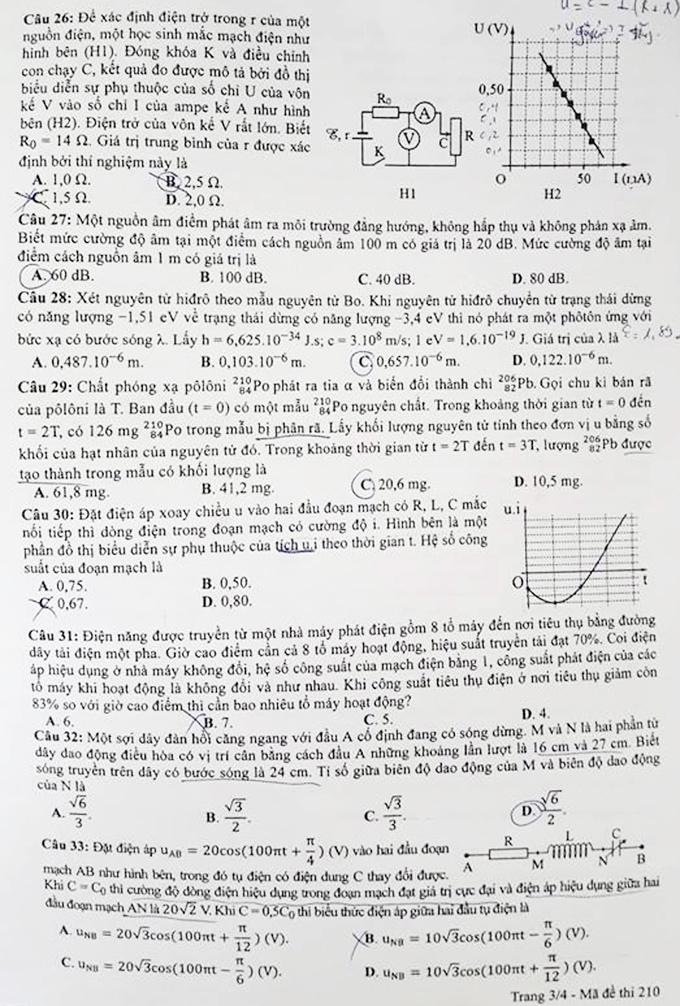 Đề và đáp án môn Vật lý thi THPT quốc gia