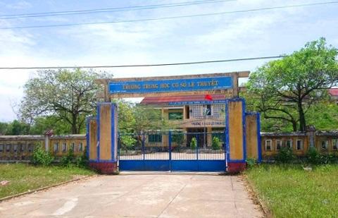 Trường THCS Lê Thuyết nơi cô Hiền bị Trung khống chế rồi hiếp dâm. Ảnh: NV