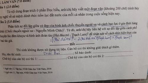 Khi học sinh chuyên toán thi văn.