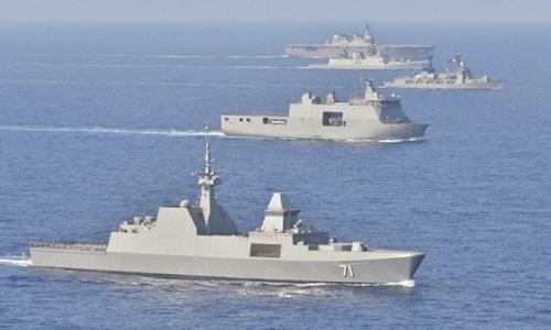 Các tàu chiến của Ấn Độ, Nhật Bản, Philippines và Singapore tham gia tập trận RIMPAC 2018. Ảnh: SMD.