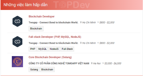 Ví dụ về lương cho lập trình viên blockchain tại Việt Nam.