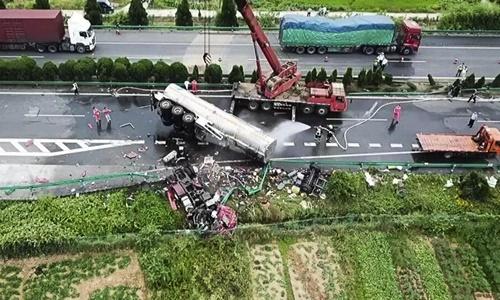 Hiện trường vụ tai nạn. Ảnh: SCMP.