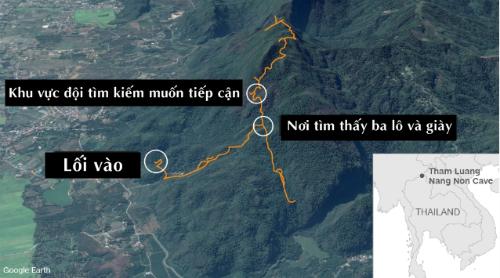 Hang Tham Luang Nang Non ở bắc Thái Lan. Đồ họa: CNN.